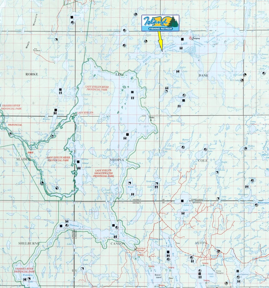 Lady Evelyn Lake Northern Ontario Fishing For Walleye Pike And Smallies - Ontario fishing lakes maps
